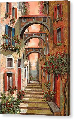 Red Roof Canvas Print - Archetti In Rosso by Guido Borelli