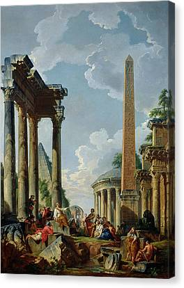 Architectural Capriccio With A Preacher In The Ruins Canvas Print by Giovanni Paolo Pannini or Panini