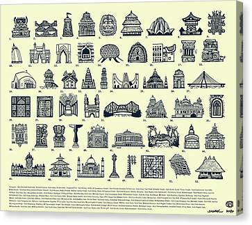 Architectural Icons Of India - Large Canvas Print