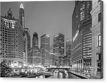 Architectural Image Of The Chicago River And Skyline From The Wrigley Building - Chicago Illinois Canvas Print by Silvio Ligutti