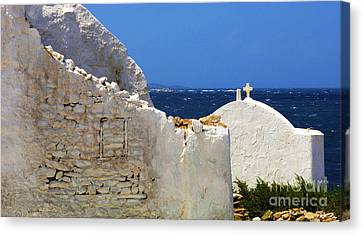 Canvas Print featuring the photograph Architecture Mykonos Greece 2 by Bob Christopher