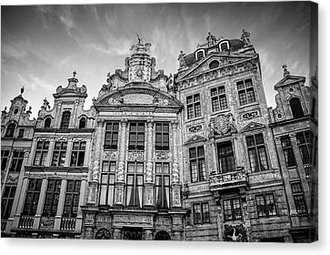 Bruxelles Canvas Print - Architecture Of The Grand Place Brussels In Black And White by Carol Japp