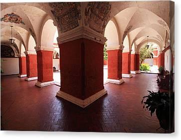 Canvas Print featuring the photograph Archway Paintings At Santa Catalina Monastery by Aidan Moran