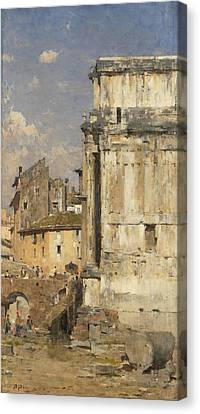Arco Di Settimio Severo Canvas Print by Bartolomeo Bezzi