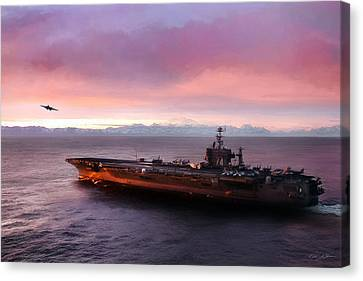 Aircraft Carrier Canvas Print - Arctic Cruise Sunset by Peter Chilelli