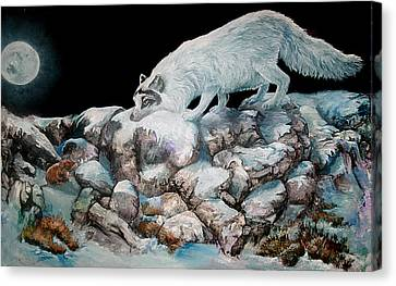 Canvas Print featuring the painting Arctic Encounter by Sherry Shipley