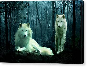 Arctic Wolves Canvas Print by Julie L Hoddinott