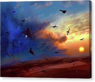 Canvas Print featuring the painting Area 51 Groom Lake by Dave Luebbert