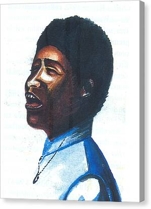 Canvas Print featuring the painting Aretha Franklin by Emmanuel Baliyanga