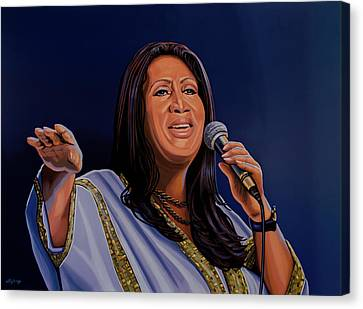 Aretha Franklin Painting Canvas Print by Paul Meijering