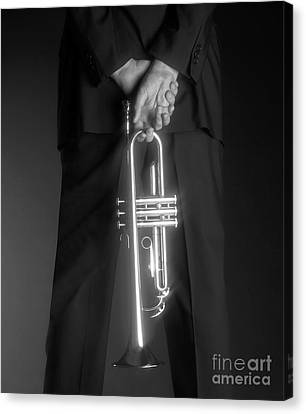 Ari And Trumpet Canvas Print by Tony Cordoza