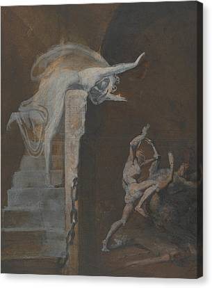 Ariadne Watching The Struggle Of Theseus With The Minotaur Canvas Print