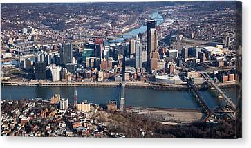 Allegeny River Canvas Print - Arial Pittsburgh 100 by Emmanuel Panagiotakis