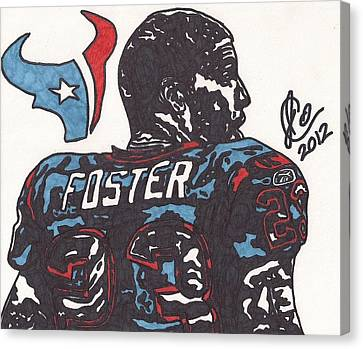 Canvas Print featuring the drawing Arian Foster 2 by Jeremiah Colley