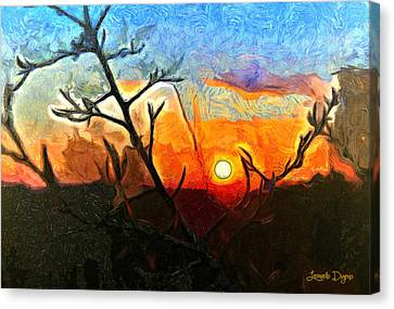 Arid Sunset - Da Canvas Print by Leonardo Digenio