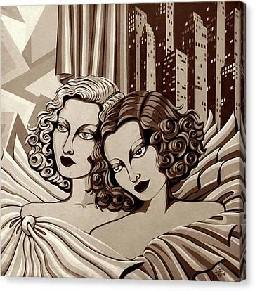 Arielle And Gabrielle In Sepia Tone Canvas Print