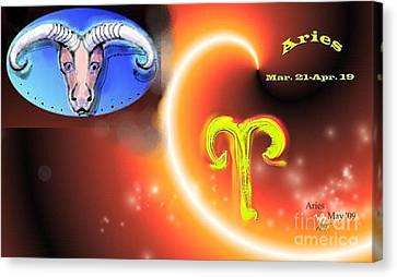 Canvas Print featuring the painting Aries by The Art of Alice Terrill