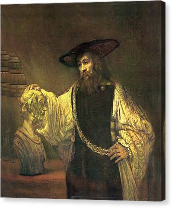 Old Man With Beard Canvas Print - Aristotle Contemplating The Bust Of Homer by Rembrandt