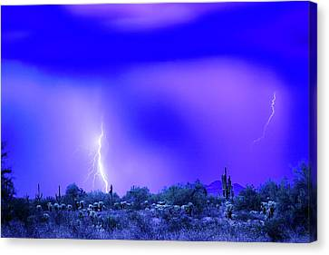 Arizona Blue Hour Desert Storm Canvas Print
