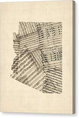 Arizona Map, Old Sheet Music Map Canvas Print by Michael Tompsett