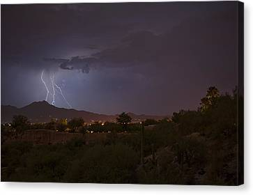 Canvas Print featuring the photograph Arizona Monsoon Lightning by Dan McManus