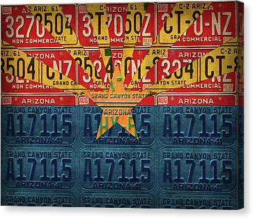 Arizona State Flag Vintage License Plate Art Canvas Print by Design Turnpike
