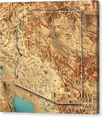 Canvas Print - Arizona State Usa 3d Render Topographic Map Border by Frank Ramspott