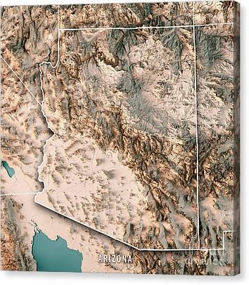 Canvas Print - Arizona State Usa 3d Render Topographic Map Neutral by Frank Ramspott