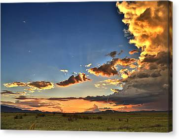Canvas Print featuring the photograph Arizona Sunset Storm by James Menzies