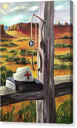 Canvas Print featuring the painting Arizona The Nurse And Hope by Randol Burns
