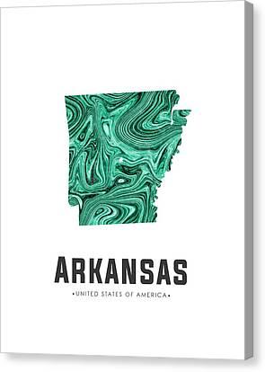 State Of Arkansas Canvas Print - Arkansas Map Art Abstract In Green by Studio Grafiikka