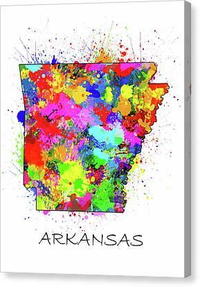 State Of Arkansas Canvas Print - Arkansas Map Color Splatter by Bekim Art