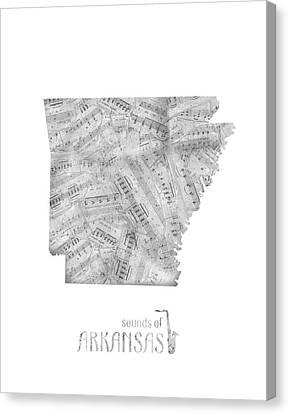 State Of Arkansas Canvas Print - Arkansas Map Music Notes by Bekim Art