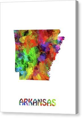 State Of Arkansas Canvas Print - Arkansas Map Watercolor by Bekim Art