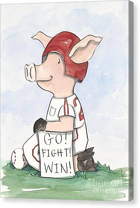 Arkansas Canvas Print - Arkansas Razorback Baseball Piggy by Annie Laurie