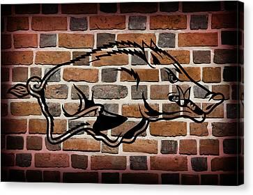 Arkansas Razorbacks Brick Wall Canvas Print by Daniel Hagerman