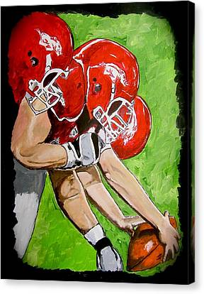 Arkansas Razorbacks Football Canvas Print by Carol Blackhurst