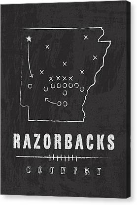 Arkansas Razorbacks / Ncaa College Football Art / Fayetteville Canvas Print by Damon Gray