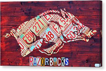 Razorbacks Canvas Print - Arkansas Razorbacks Recycled Vintage License Plate Art Sports Team Logo by Design Turnpike
