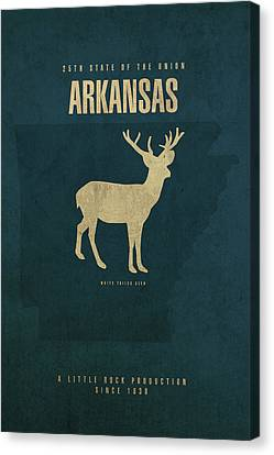 Arkansas State Facts Minimalist Movie Poster Art Canvas Print by Design Turnpike