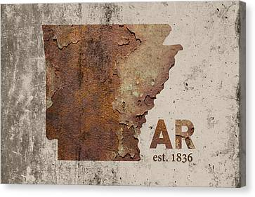 Arkansas State Map Industrial Rusted Metal On Cement Wall With Founding Date Series 034 Canvas Print by Design Turnpike