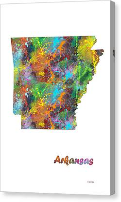Arkansas State Map Canvas Print by Marlene Watson