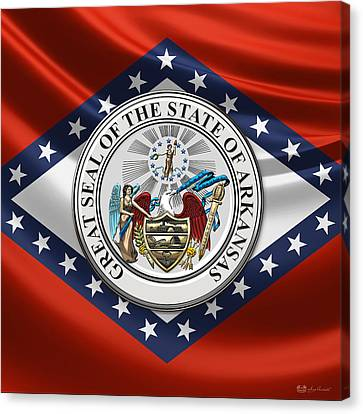 Arkansas State Seal Over Flag Canvas Print by Serge Averbukh