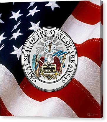 Arkansas State Seal Over U.s. Flag Canvas Print by Serge Averbukh