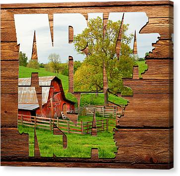 Arkansas Typographic Artwork On Wood - Pure Arkansas On Wood Canvas Print by Gregory Ballos