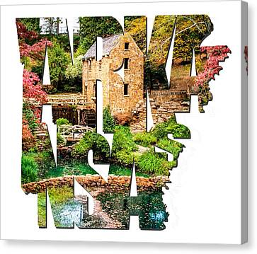 Arkansas Typography - Afternoon At The Old Mill - Arkansas Canvas Print by Gregory Ballos