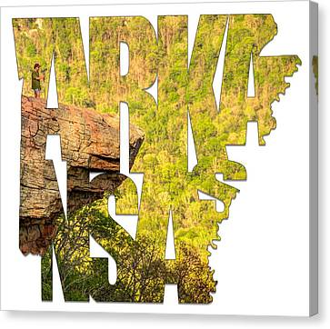 Arkansas Typography - Perspective - Whitaker Point Hawksbill Crag Canvas Print by Gregory Ballos