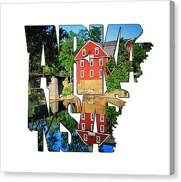 Arkansas Typography - War Eagle Mill And Bridge - Arkansas Canvas Print