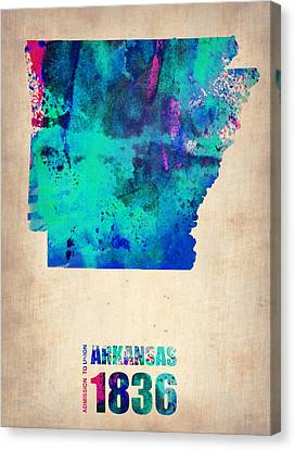 World Map Canvas Print - Arkansas Watercolor Map by Naxart Studio