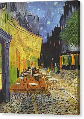 Arles Cafe Terrace At Night Canvas Print